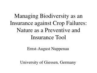 Ernst-August Nuppenau University of Giessen, Germany