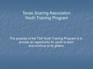 Texas Soaring Association Youth Training Program