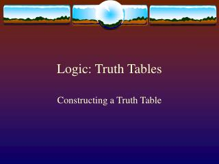 Logic: Truth Tables