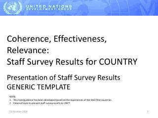 Coherence, Effectiveness, Relevance: Staff Survey Results for COUNTRY