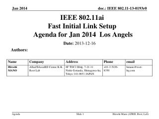 IEEE 802.11ai Fast Initial Link Setup  Agenda for  Jan 2014  Los Angels