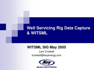 Well Servicing Rig Data Capture & WITSML