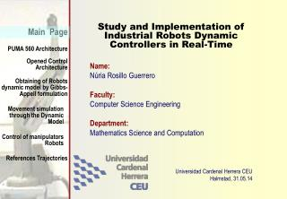 Study and Implementation of Industrial Robots Dynamic Controllers in Real-Time