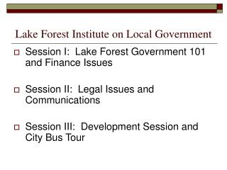 Lake Forest Institute on Local Government