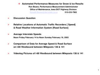 Automated Performance Measures for Snow & Ice Results