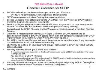 General Guidelines for SPOP