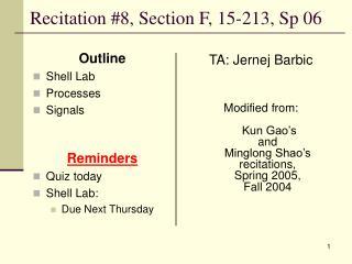 Recitation #8, Section F, 15-213, Sp 06