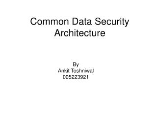 Common Data Security Architecture