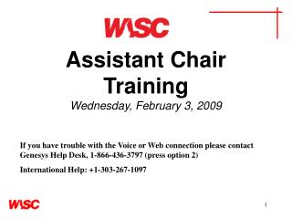 Assistant Chair Training Wednesday, February 3, 2009