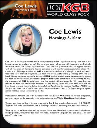 Coe Lewis Mornings 6-10am