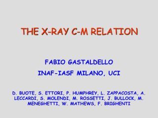 THE X-RAY C-M RELATION