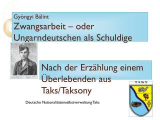 Gyöngyi Bálint Zwangsarbeit – oder Ungarndeutschen als Schuldige