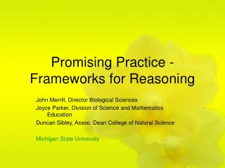 Promising Practice - Frameworks for Reasoning