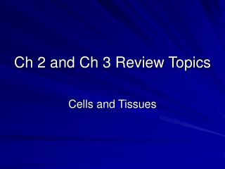 Ch 2 and Ch 3 Review Topics