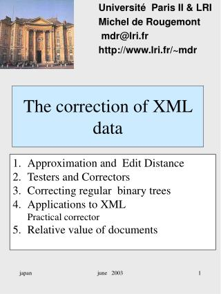 The correction of XML data