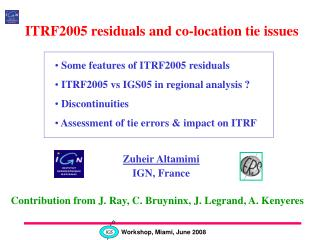 ITRF2005 residuals and co-location tie issues