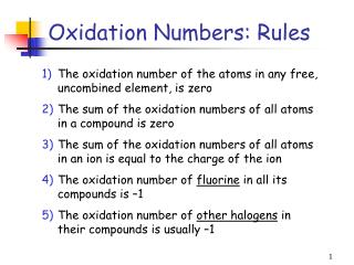 Oxidation Numbers: Rules