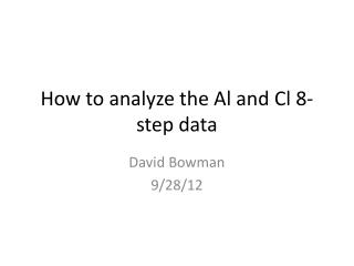 How to analyze the Al and  Cl  8-step data