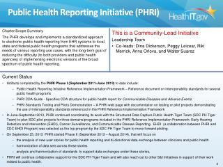 Public Health Reporting Initiative (PHRI)