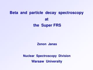 Beta  and  particle  decay  spectroscopy  at  the  Super FRS