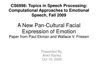 A New Pan-Cultural Facial Expression of Emotion Paper from Paul Ekman and Wallace V. Friesen