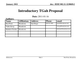 Introductory TGah Proposal