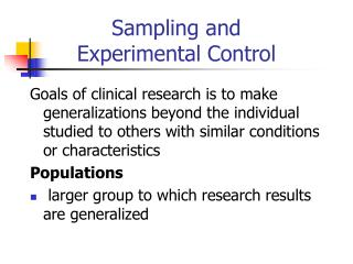 Sampling and  Experimental Control