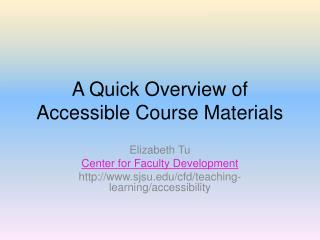 A Quick Overview of Accessible Course Materials