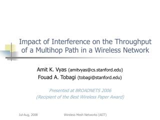 Impact of Interference on the Throughput of a Multihop Path in a Wireless Network