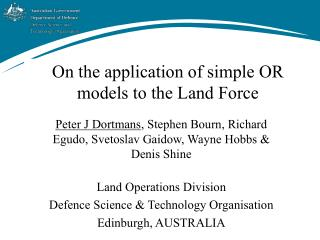 On the application of simple OR models to the Land Force