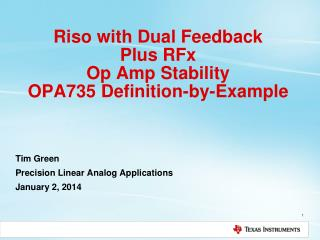 Riso with Dual Feedback Plus RFx Op Amp Stability OPA735 Definition-by-Example