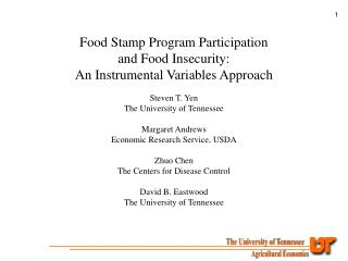 Food Stamp Program Participation and Food Insecurity: An Instrumental Variables Approach