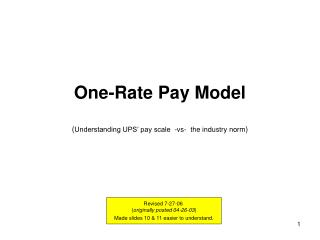 One-Rate Pay Model ( Understanding UPS� pay scale  -vs-  the industry norm )