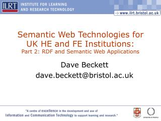 Semantic Web Technologies for UK HE and FE Institutions: Part 2: RDF and Semantic Web Applications