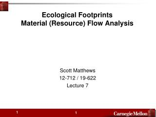 Ecological Footprints Material (Resource) Flow Analysis