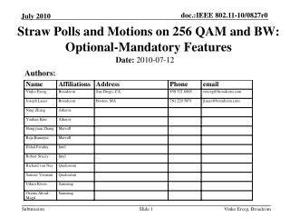 Straw Polls and Motions on 256 QAM and BW:  Optional-Mandatory Features
