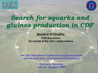 Search for squarks and  gluinos production in CDF