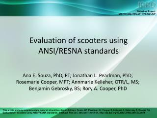 Evaluation of scooters using ANSI/RESNA standards