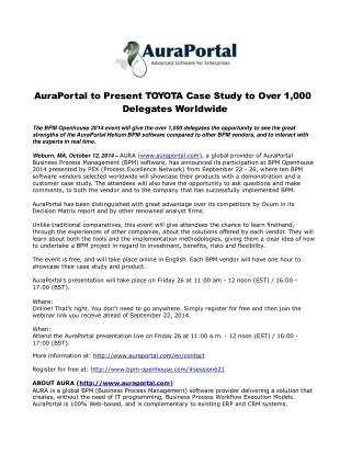 AuraPortal to Present TOYOTA Case Study to Over 1,000 Delega