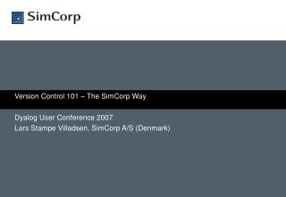 Version Control 101 – The SimCorp Way