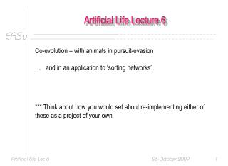 Artificial Life Lecture 6