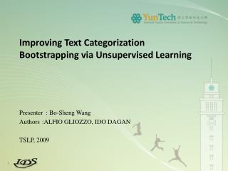 Improving Text Categorization Bootstrapping via Unsupervised Learning