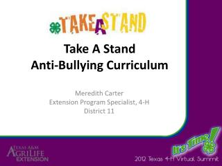 Take A Stand Anti-Bullying Curriculum