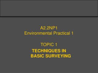 A2.2NP1 Environmental Practical 1