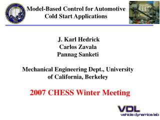 Model-Based Control for Automotive Cold Start Applications