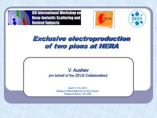 Exclusive electroproduction  of two pions at HERA