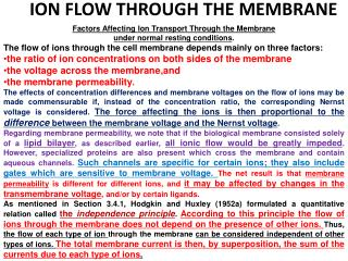 ION FLOW THROUGH THE MEMBRANE