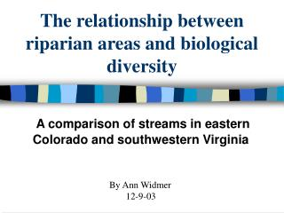 The relationship between riparian areas and biological diversity