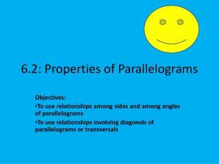 6.2: Properties of Parallelograms