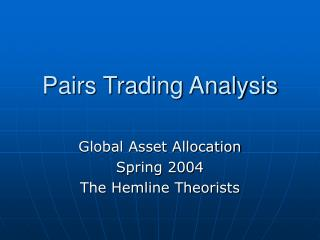 Pairs Trading Analysis